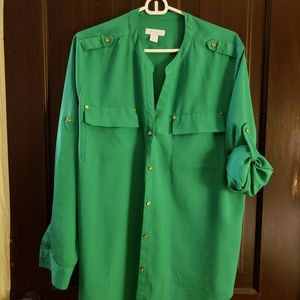 Green and gold button down blouse